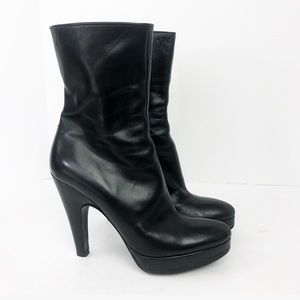 Prada Black Sold Leather Ankle Heeled Boots 38/8